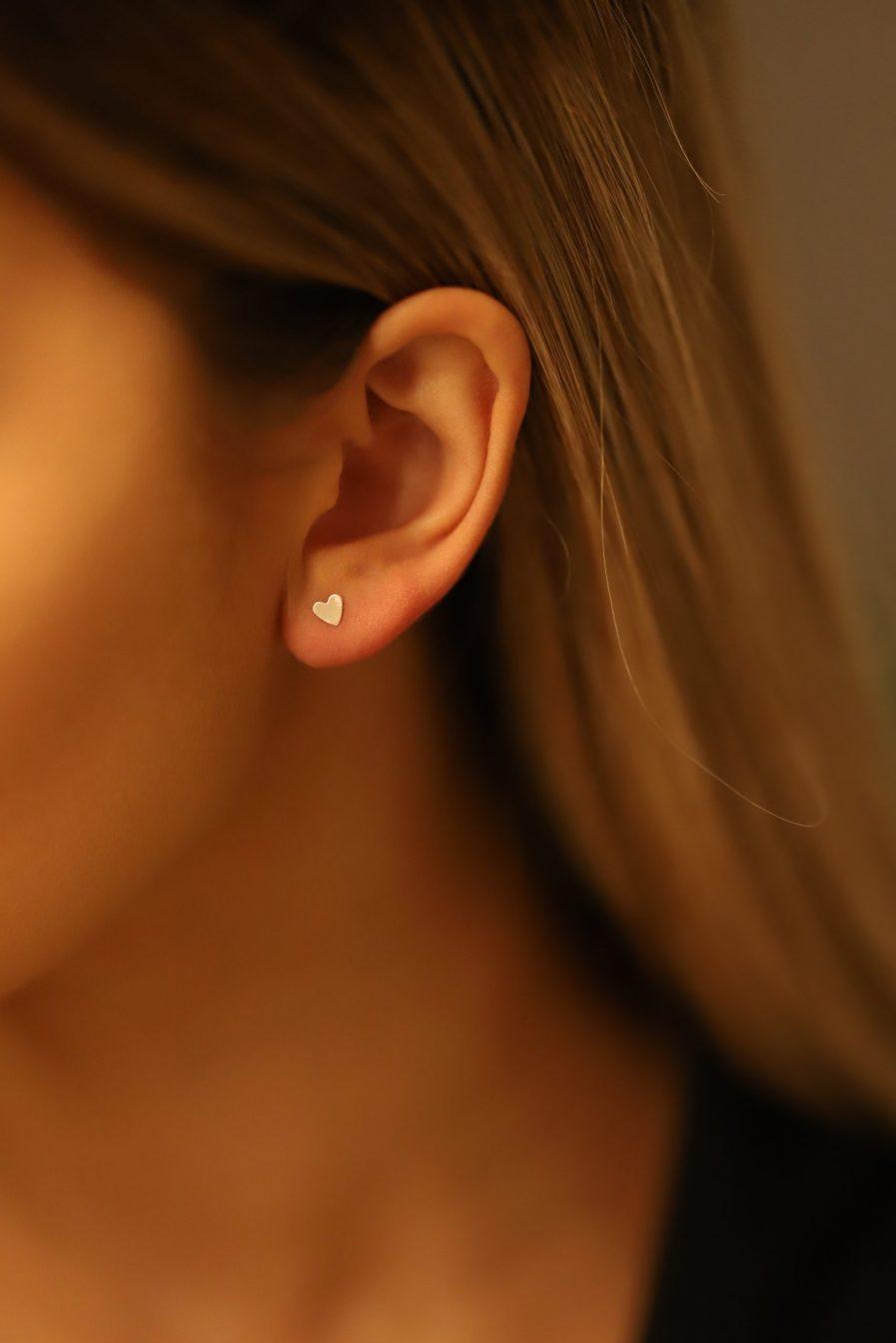 Silver Brass Heart Earrings