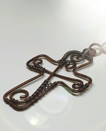 Copper Wirework Cross Pendant