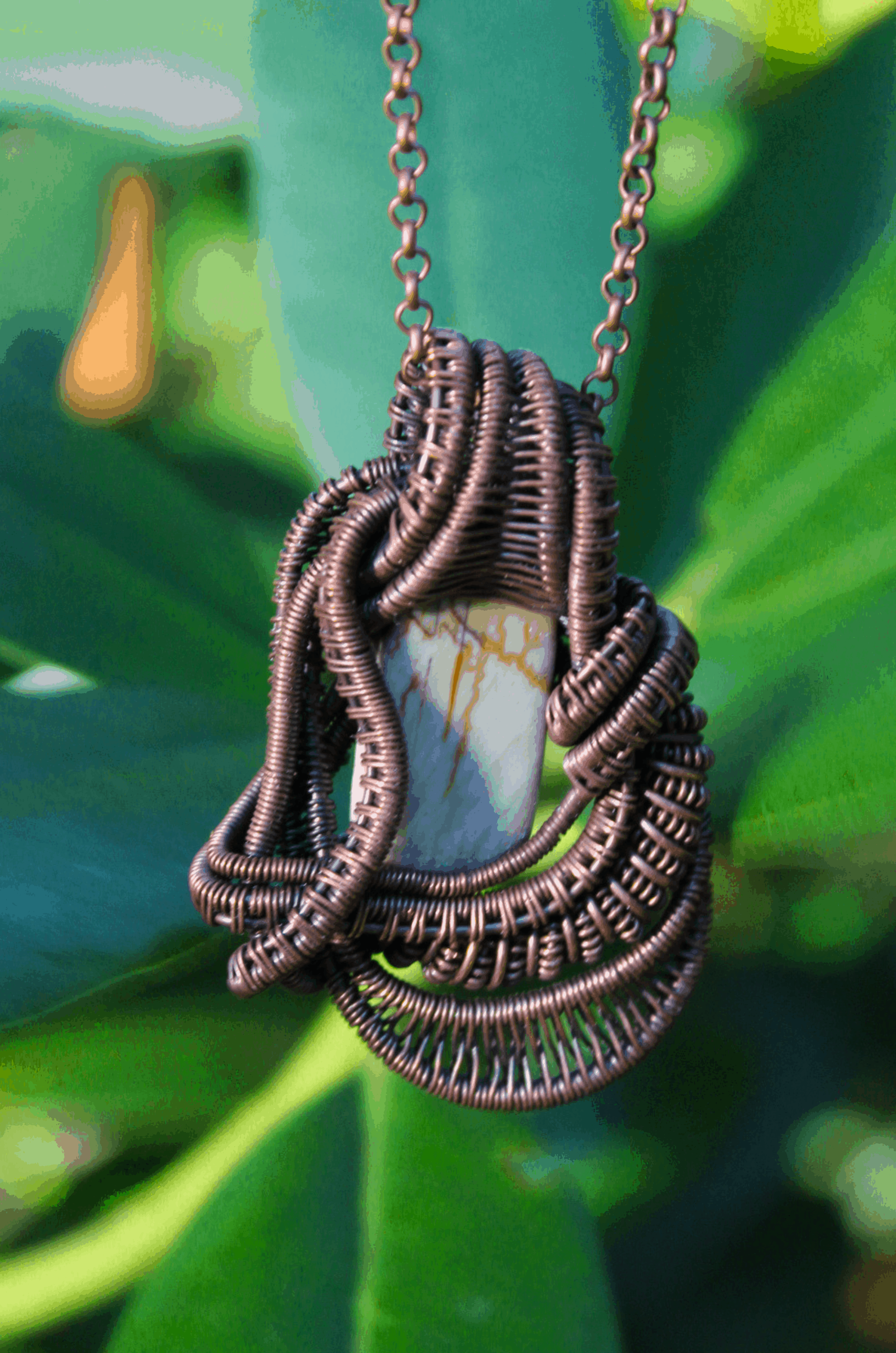 Luxury Handmade Copper Wire Wrapped Pendant