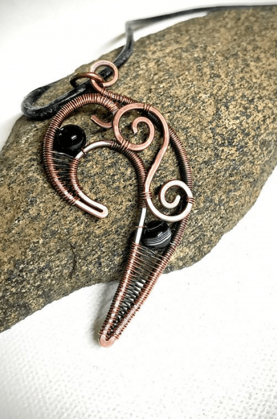Handmade Tribal Copper Wire Pendant