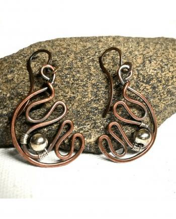 Handmade Mixed Metal Wirework Earrings