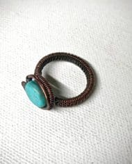 Handmade turquoise copper wire wrapped ring