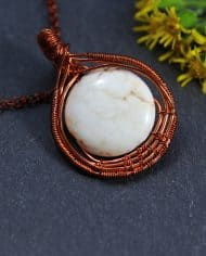 white stone wire wrapped necklace