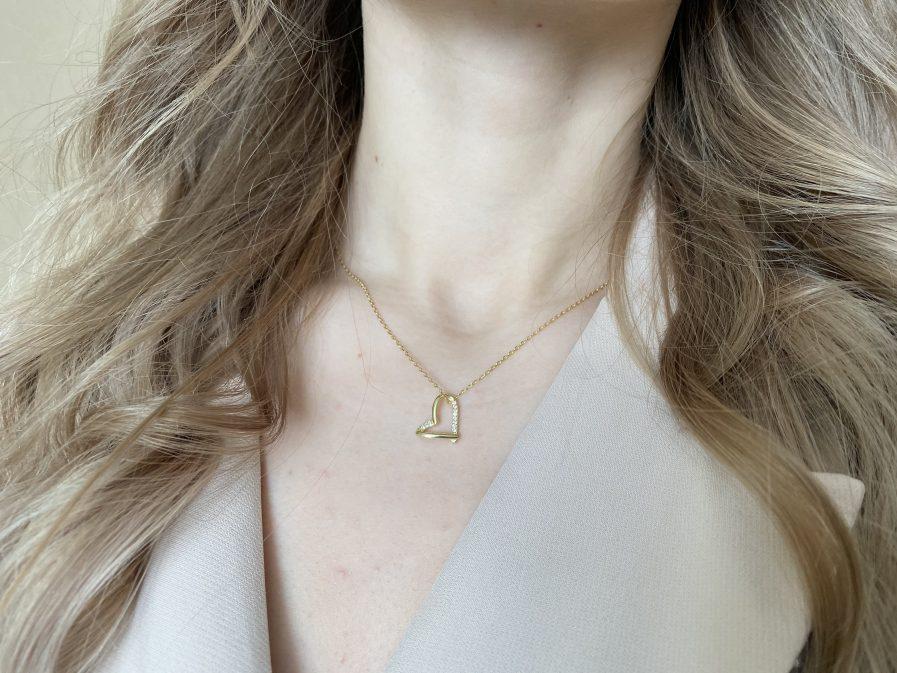 925 Silver Rhinestone Heart Necklace