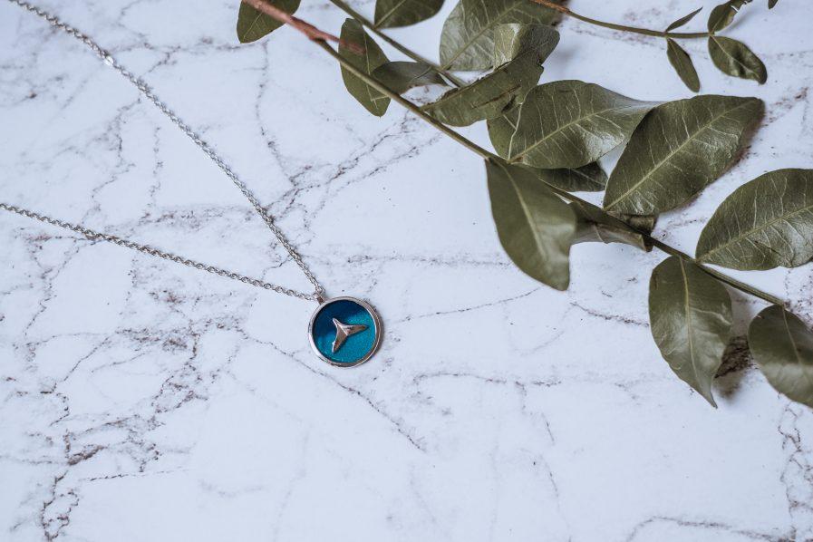 925 Sterling Silver Enamel Fish Minimalist Necklace