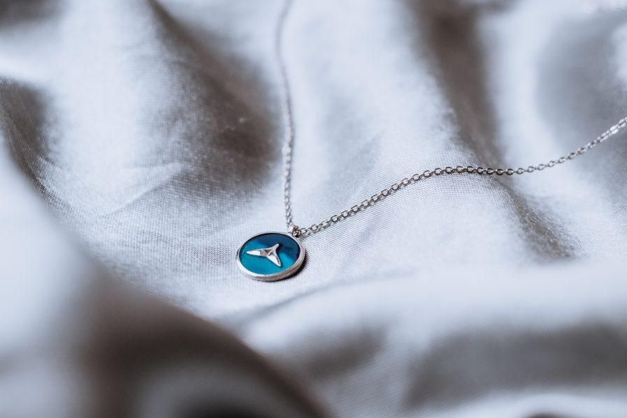 Sterling Silver Enamel Fish Minimalist Necklace