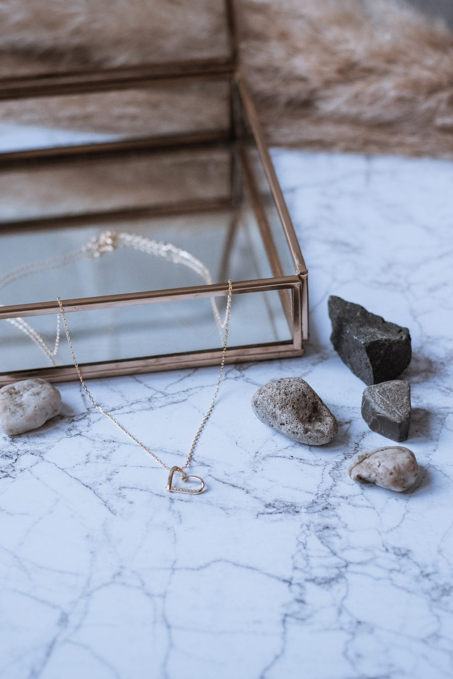 Sterling Silver Rhinestone Heart Minimalist Necklace