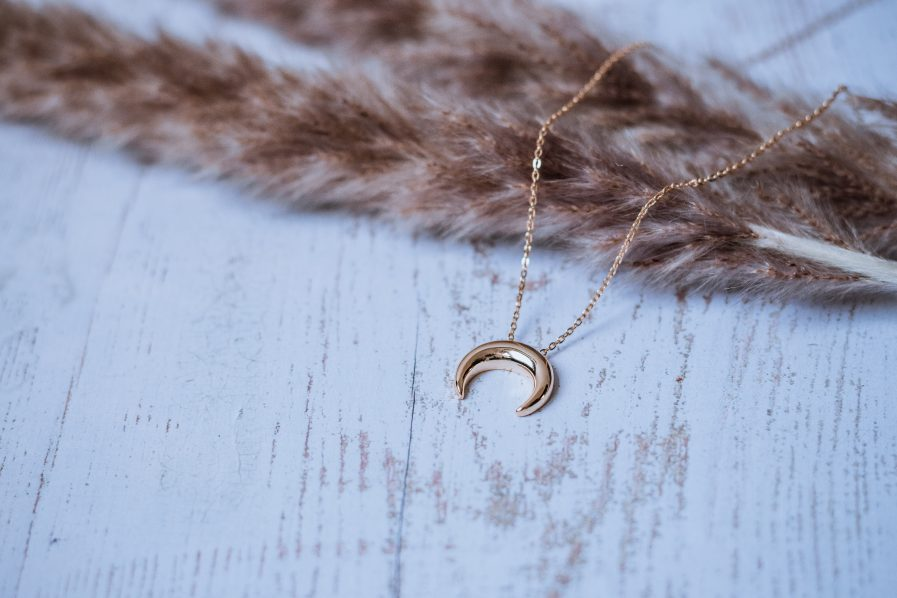 Sterling Silver Smooth Moon Minimalist Necklace