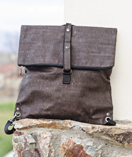 dark brown faux leather cork Backpack