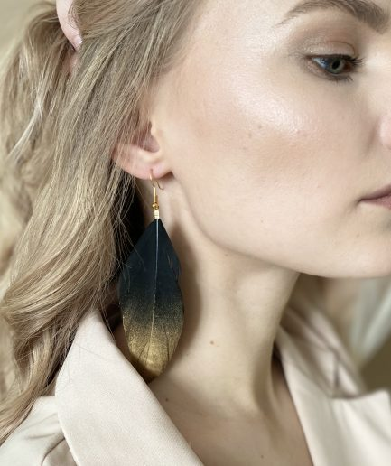 Black duck feather earring