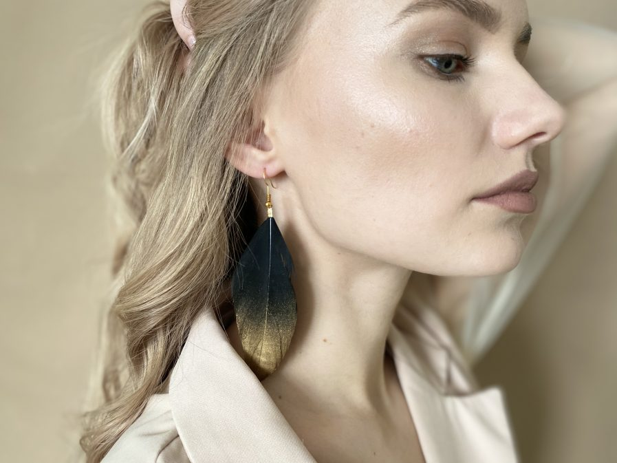 Black duck feather earring