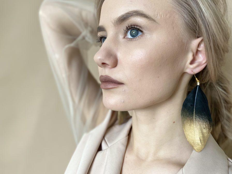 Black duck feather earrings