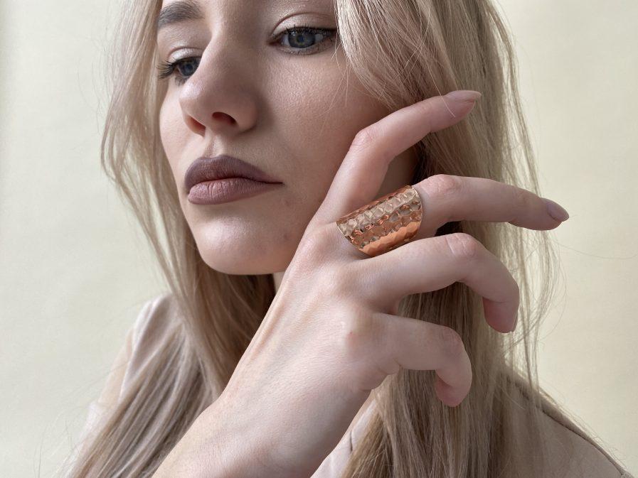 Rose color Hammered Brass Ring