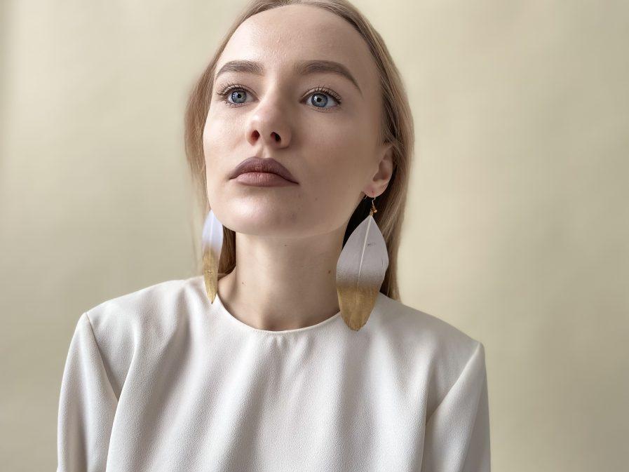White duck feather earrings