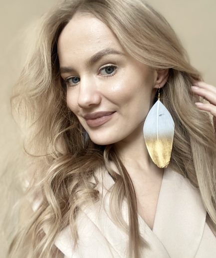 White duck feather earrings with gold dipped