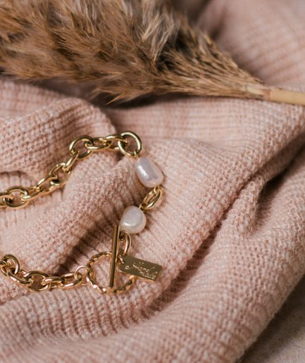 Stainless Steel Freshwater Pearl Link Bracelet