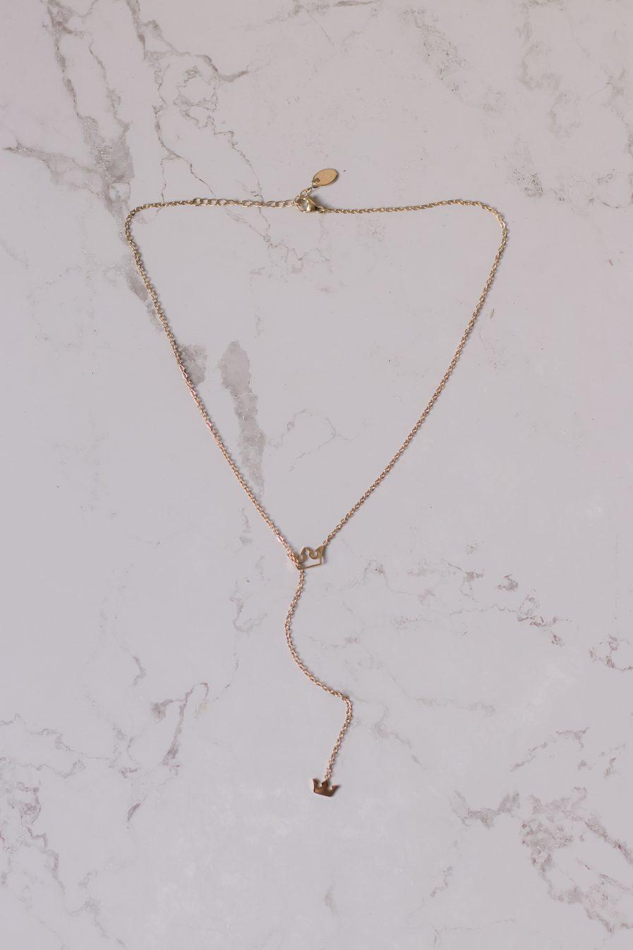 Titanium Two Crown Lariat Necklace